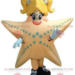 Mascota gigante de salmón y estrella de mar amarilla -