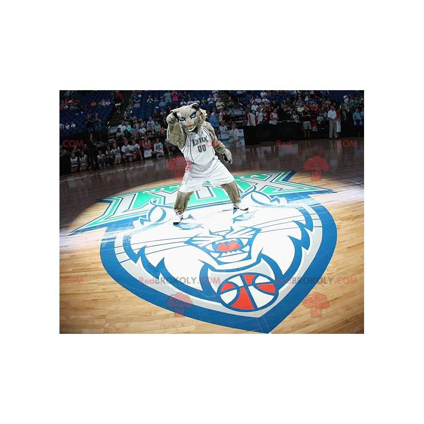Graues Tigermaskottchen mit blauen Augen - Redbrokoly.com