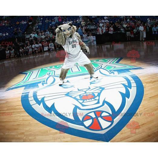 Szary tygrys maskotka z niebieskimi oczami - Redbrokoly.com