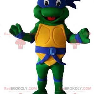 Maskot Leonardo slavná ninja želva s modrou čelenkou -