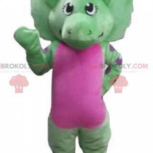 Riesiges grünes und rosa Dinosauriermaskottchen - Redbrokoly.com