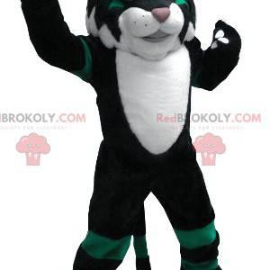 Black white and green cat mascot - Redbrokoly.com