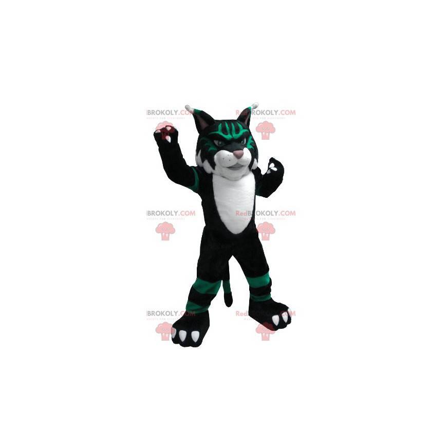 Černá bílá a zelená kočka maskot - Redbrokoly.com