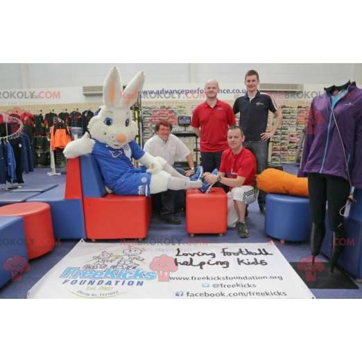 Hvit kanin maskot antrekk å støtte - Redbrokoly.com