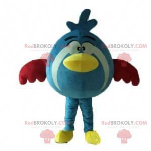Kulatý a roztomilý modrý, žlutý a červený pták maskot -