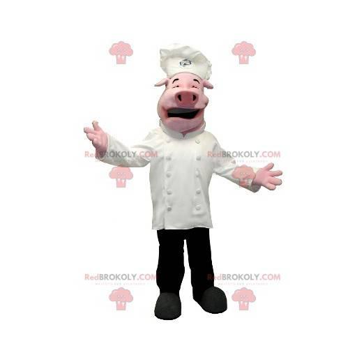 Pig mascot dressed as a chef - Redbrokoly.com