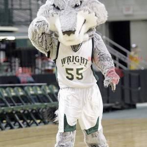 Šedý a bílý vlk maskot v basketbalové oblečení - Redbrokoly.com
