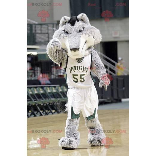 Grå og hvit ulvemaskot i basketballantrekk - Redbrokoly.com
