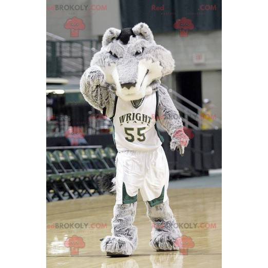 Gray and white wolf mascot in basketball outfit - Redbrokoly.com