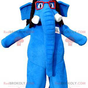 Blå elefant maskot med briller og en fargerik hatt -