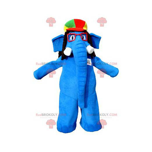 Blue elephant mascot with glasses and a colorful hat -
