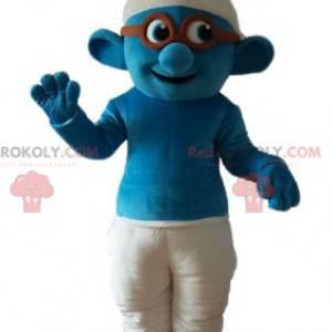 Mascotte del Puffo con occhiali famoso personaggio dei fumetti