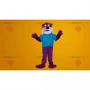 Fialový a bílý buldok pes maskot - Redbrokoly.com