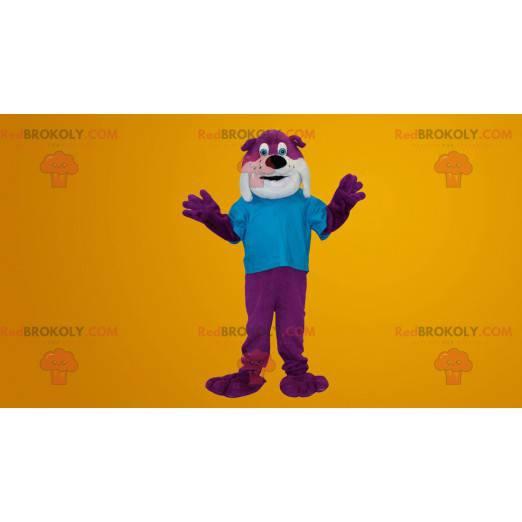 Purple and white bulldog dog mascot - Redbrokoly.com