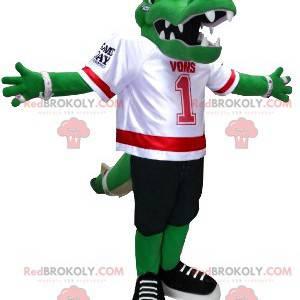 Green crocodile mascot in American football gear -