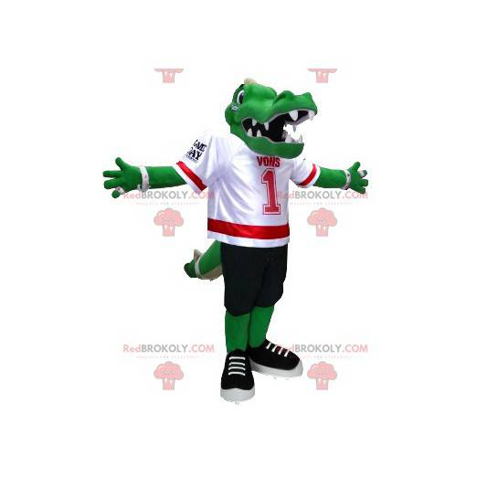 Grønn krokodille maskot i amerikansk fotballutstyr -