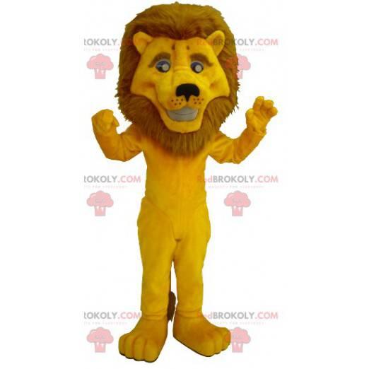 Gelbes Löwenmaskottchen mit einer großen Mähne - Redbrokoly.com