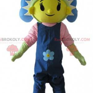 Giant blue yellow and green flower mascot - Redbrokoly.com