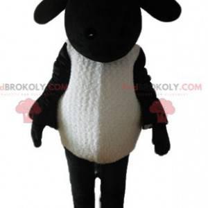 Zwart-wit cartoon beroemde schapen shaun mascotte -