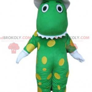 Grønn krokodille dinosaur maskot med gule prikker -