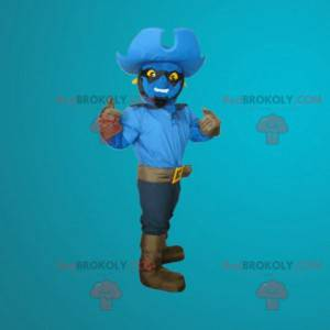 Maskot modrý sněhulák oblečený jako kovboj - Redbrokoly.com