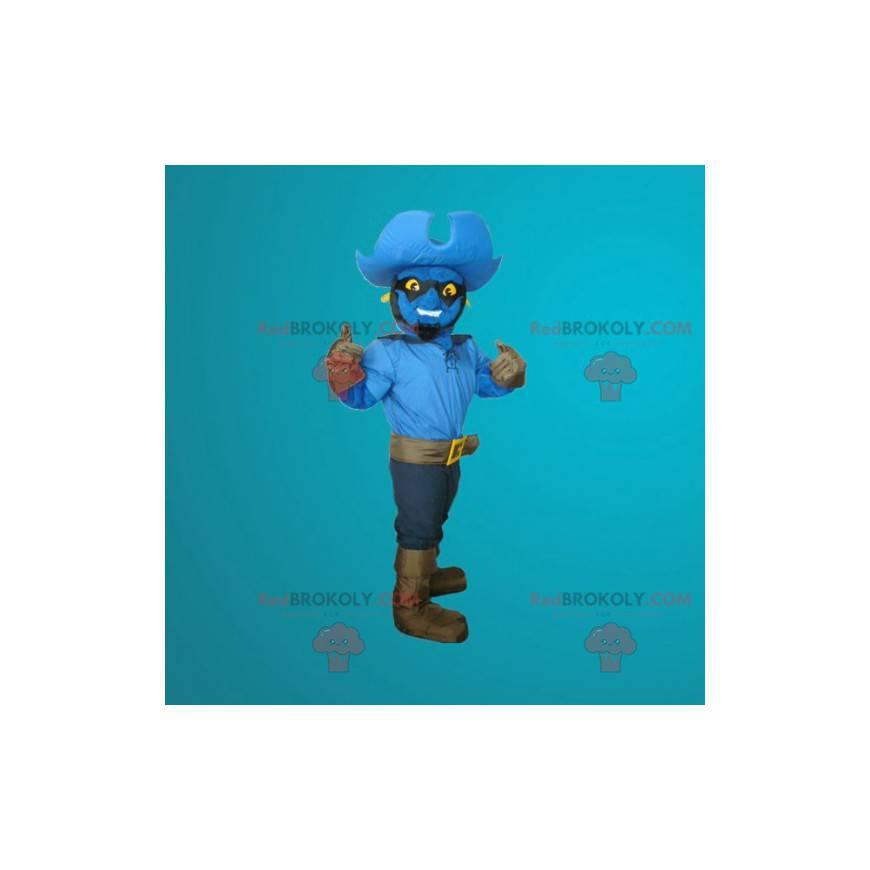 Maskotka niebieski bałwan przebrany za kowboja - Redbrokoly.com