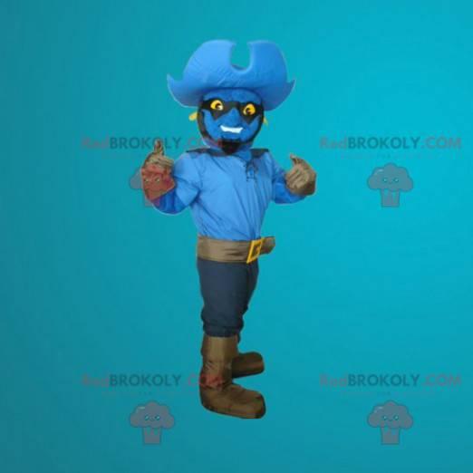 Blaues Schneemannmaskottchen als Cowboy verkleidet -