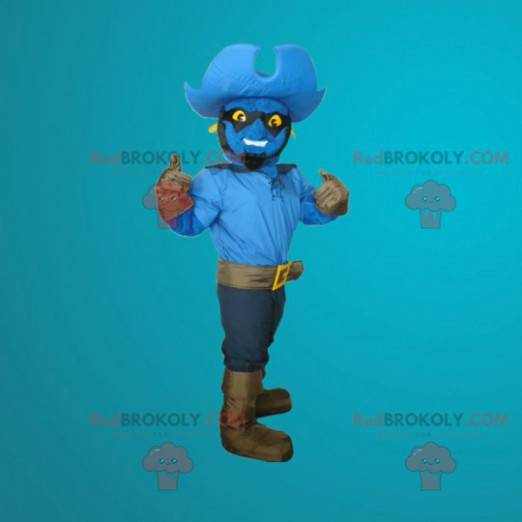 Blue snowman mascot dressed as a cowboy - Redbrokoly.com