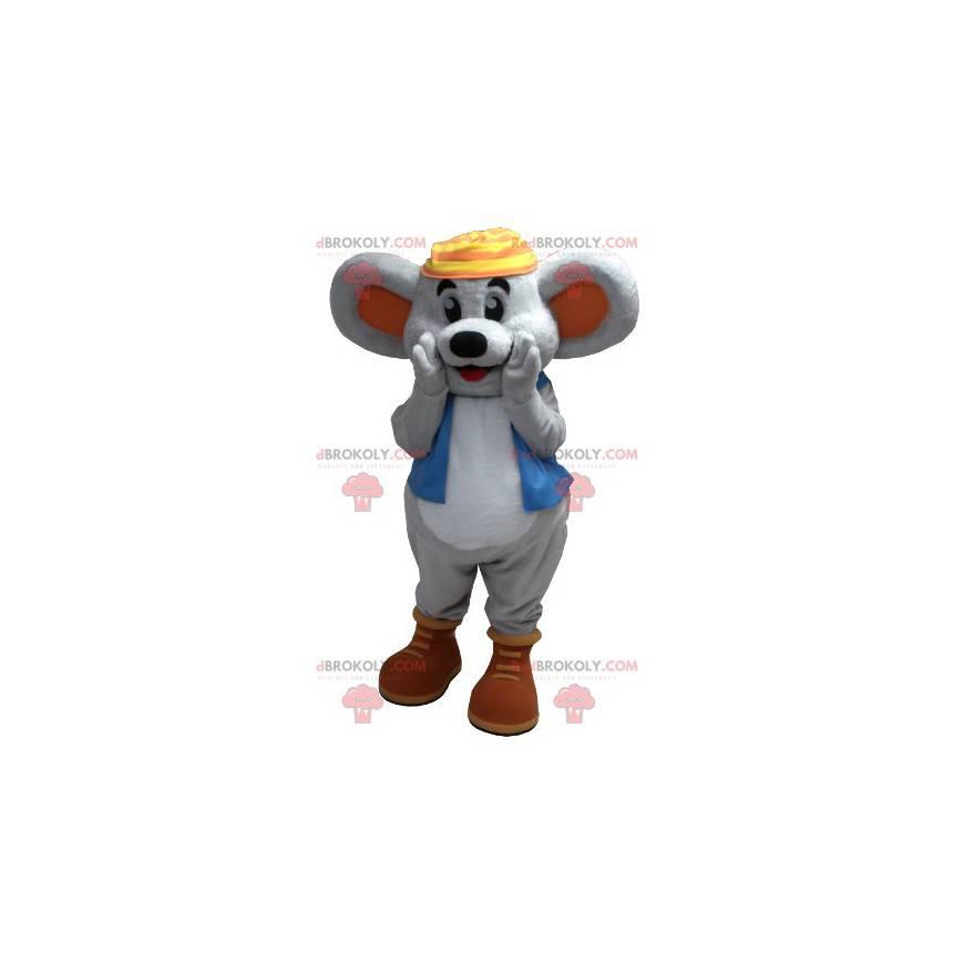 Usmívající se maskot šedé myši s modrou vestou - Redbrokoly.com