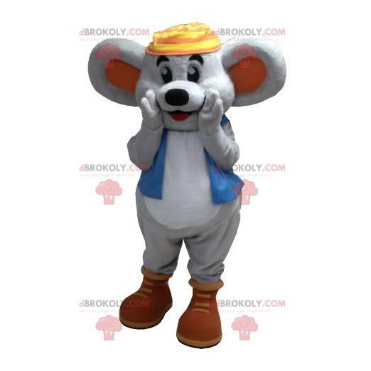 Uśmiechnięta szara mysz maskotka z niebieską kamizelką -