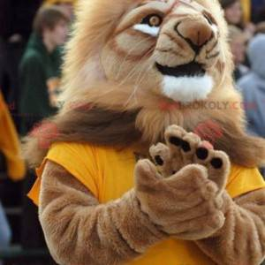 Brown lion mascot with a large mane - Redbrokoly.com