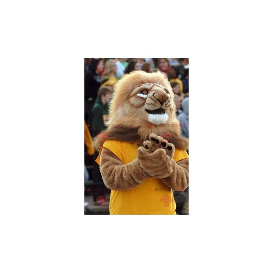 Braunes Löwenmaskottchen mit einer großen Mähne - Redbrokoly.com