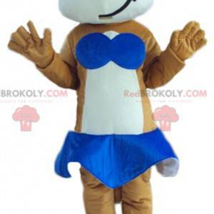 Brown and white cat mascot with a blue skirt - Redbrokoly.com