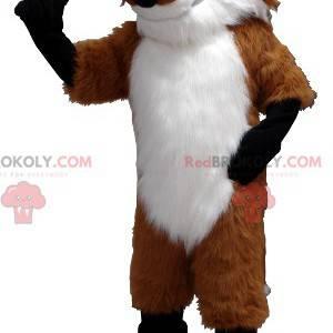 Orange Fuchs Maskottchen weiß und schwarz mit Brille -