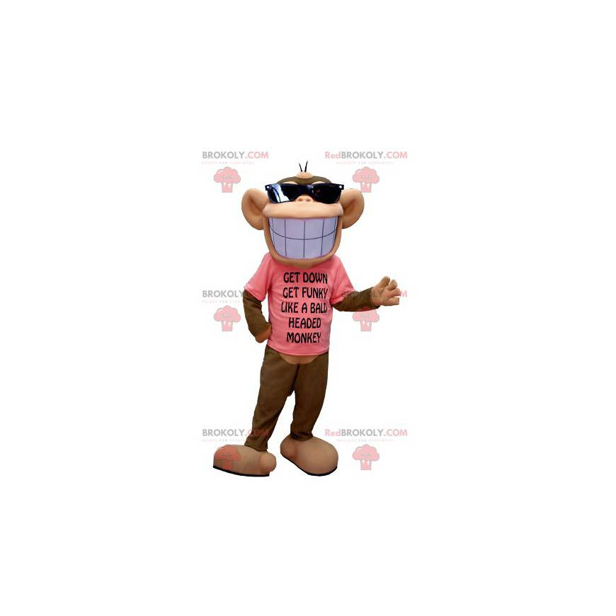 Brown and beige monkey mascot with a broad smile -