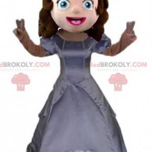 Mascota princesa con un vestido gris y una corona. -