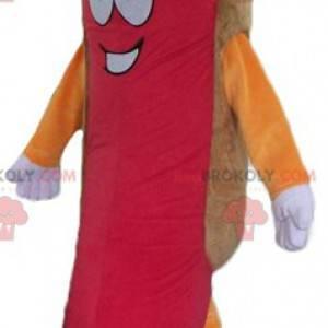 Maskotka gigantyczny hot dog kolorowy i uśmiechnięty -