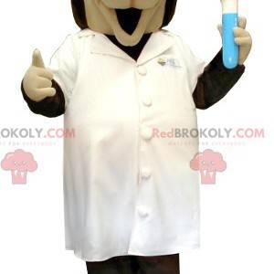 Brown and beige scientific dog mascot in a lab coat -