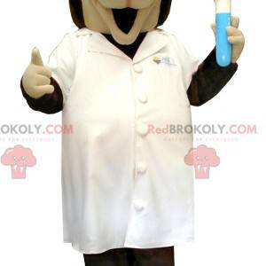Brun og beige vitenskapelig hundemaskot i laboratoriekåpe -