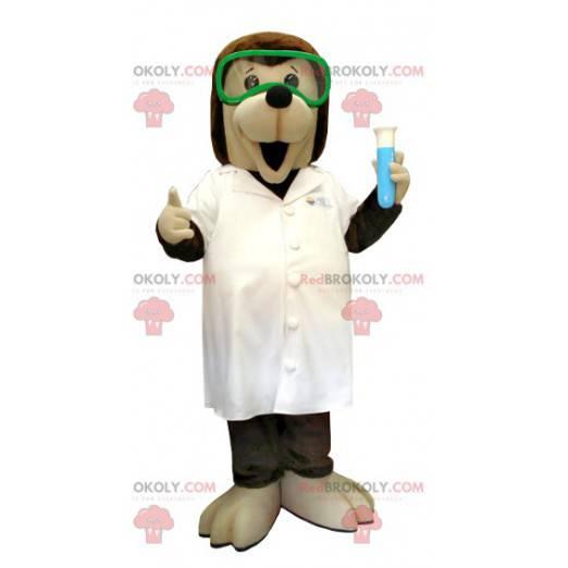 Hnědý a béžový maskot vědeckého psa v laboratorním plášti -