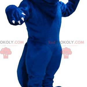 Riesiges blaues Rattenmaskottchen, das böse aussieht -