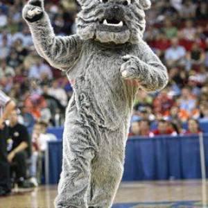Maskot velký šedý pes měkký a chlupatý buldok - Redbrokoly.com