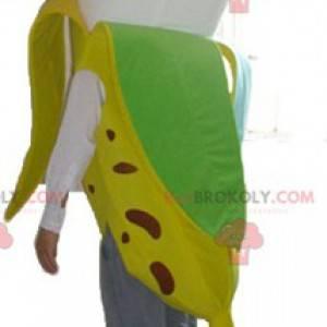 Maskot žlutý hnědý zelený a bílý banán - Redbrokoly.com