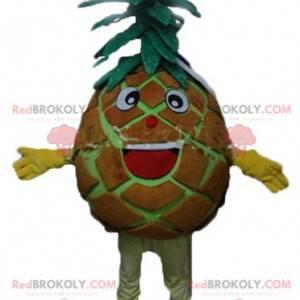 Obří hnědý a zelený ananasový maskot velmi usměvavý a zábavný -