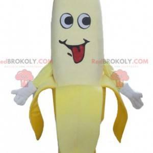 Gigantyczna żółta maskotka banana z różową czapką -