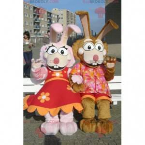 Růžový a hnědý králík pár maskoti - Redbrokoly.com