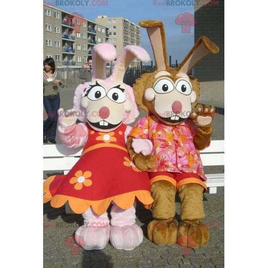 Rosa und braune Kaninchenpaar-Maskottchen - Redbrokoly.com