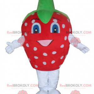 Riesiges weißes und grünes Erdbeermaskottchen - Redbrokoly.com