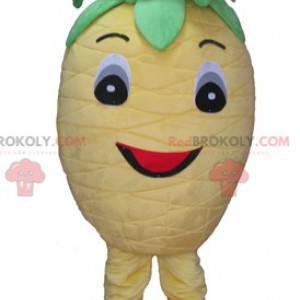 Nettes und lächelndes gelbes und grünes Ananasmaskottchen -
