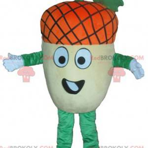 Maskot gigantisk eikenøtt gulgrønn og oransje veldig morsom -